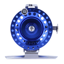 AT50 Super Light Front Fishing Reel Fly Wheel Aluminum Alloy Ice Fishing Tackle Left Hand (Blue)