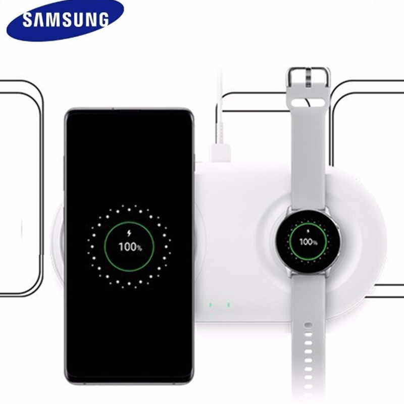 Original 2 in 1 Samsung s10 QI wireless charger Duo EP-p5200 for S10 S9 S8 plus Galaxy Watch Gear S2 S3 S4 for Iphone X XS 8