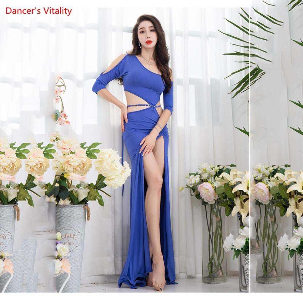 Haft-sleeved  Sexy Korea Cotton Women Belly Dancewear One-piece Dress Winter Dancer Practice Costume Hot