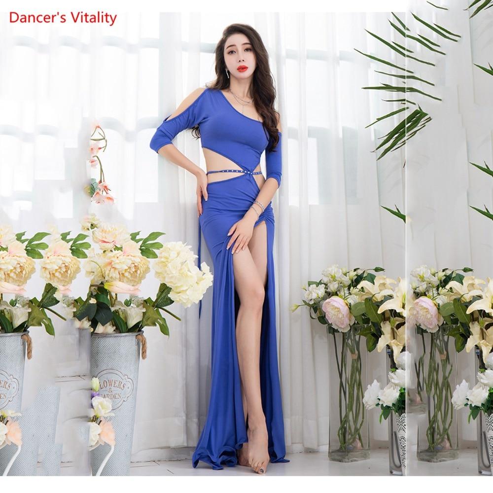Haft-sleeved  Sexy Korea Cotton Women Belly Dancewear One-piece Dress Winter Dancer Practice Costume Hot