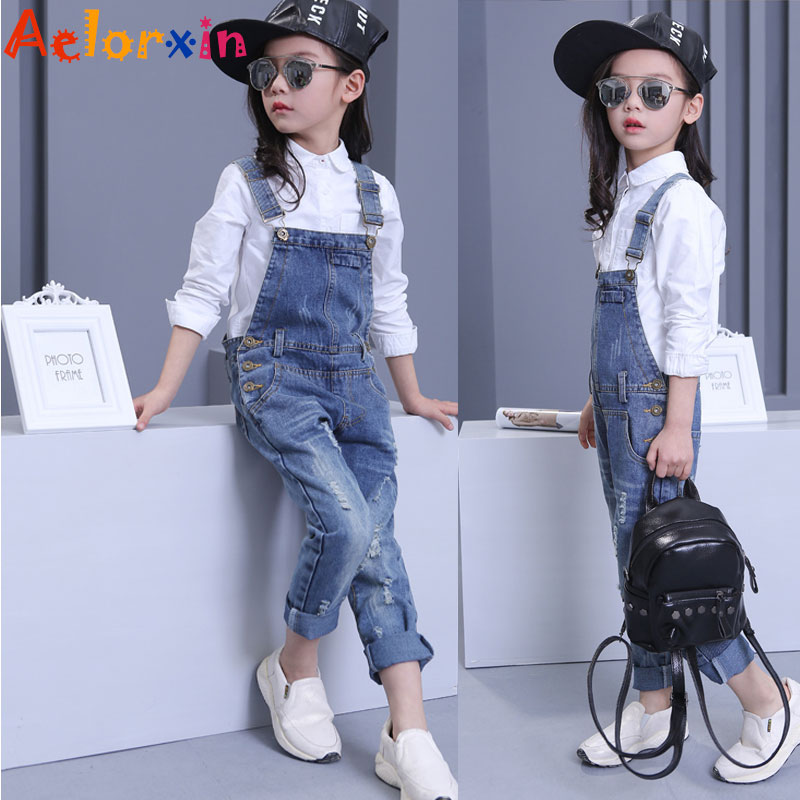 Denim Overalls For Girls Jeans Pants Children Clothes 2019 Spring Autumn Girls Jumpsuit Kids Trousers For Girls 8 9 10 12 Years