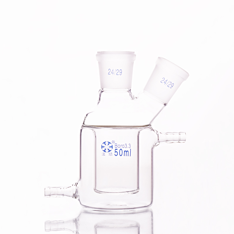 Double-deck cylindrical two-necked flat bottom flask,Capacity 50ml,Joint 24/29,Mezzanine jacketed reactor bottleDouble-deck cylindrical two-necked flat bottom flask,Capacity 50ml,Joint 24/29,Mezzanine jacketed reactor bottle