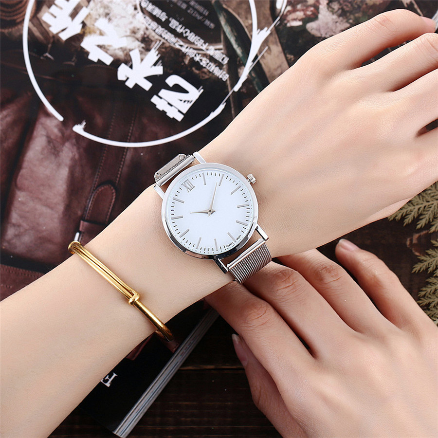Hot Selling Vansvar Casual Women Quartz Watch Silver And Gold Mesh Band Simple Dial WristWatch Best Gift Relogio Feminino V72 simple fashion hand made wooden design wristwatch 2 colors rectangle dial genuine leather band casual men women watch best gift