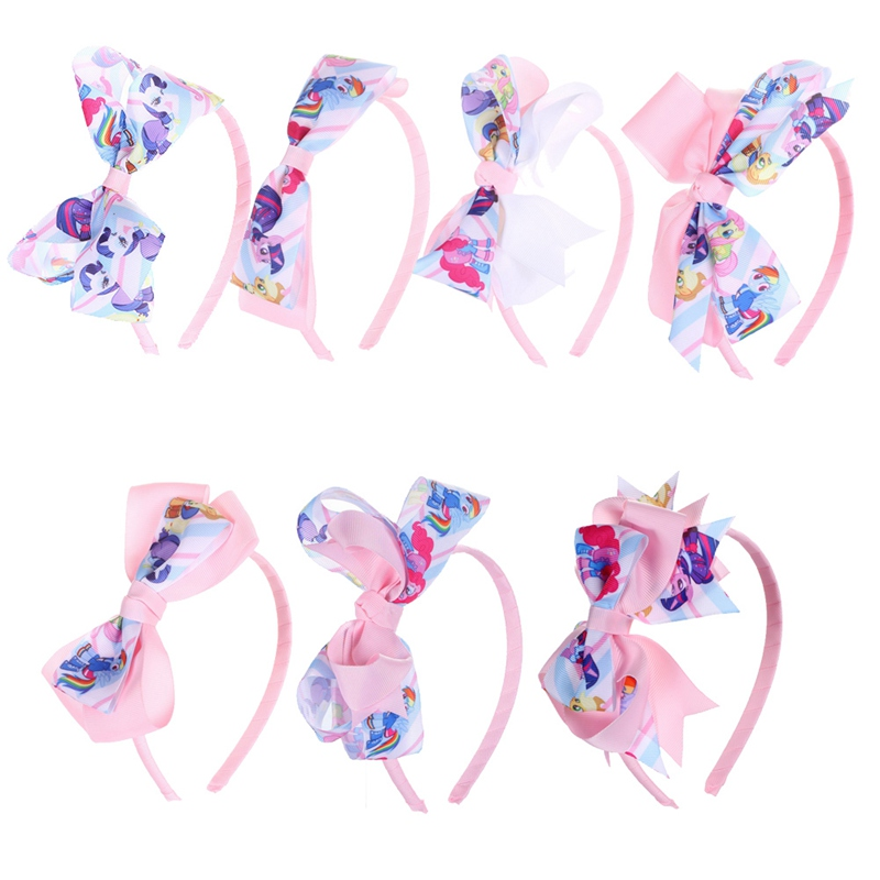 Fashion Girl Unicorn Hair Bow Headband Boutique Rainbow Printed Handmade Ribbon Hairbands Children Hair Accessories