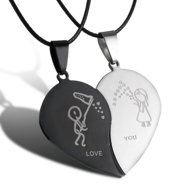 New  Jewelry Couple Broken Heart choker Necklaces Black Cord Necklace Stainless Steel Engrave Love You Pendants Necklace