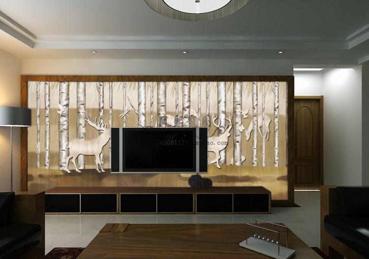 Gratis Pengiriman Besar Ruang Tamu Sofa Dinding Tv Latar Belakang Lukisan Peri Hutan Hewan Rusa Ukuran Custom Di Wallpaper Dari Perbaikan Rumah