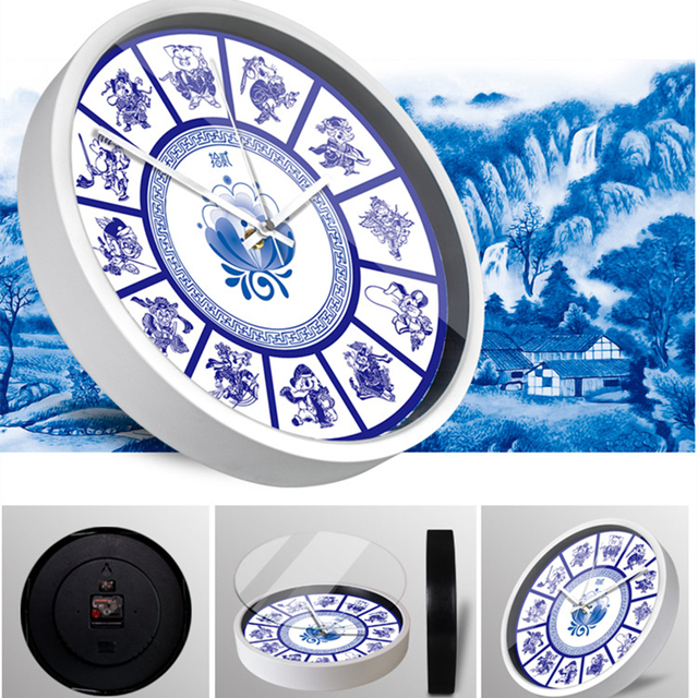 Retro Blue and white porcelain wall clock Creative Zodiac animal 12 constellations Watch and clock  decoration metal wall clock