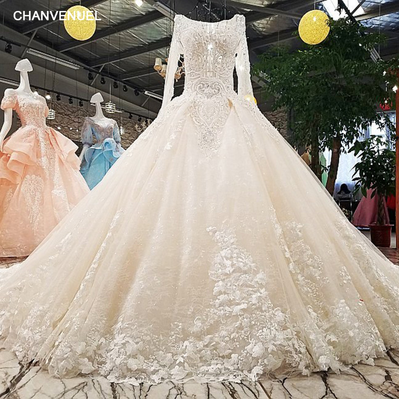 LS00349 1 wedding dress o neck full sleeves lace up backless flowers beading cathedral train ball