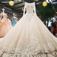 LS00349 1 wedding dress o neck full sleeves lace up backless flowers beading cathedral train ball gown floral print real photos