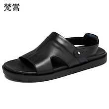 High Quality Genuine Leather mens beach shoes Roman sandals men soft bottom fashion Flip Flops casual Shoes male beach outdoor high quality brand fashion mens sandals slip on genuine leather cow flat casual shoes male big size slippers beach flip flops