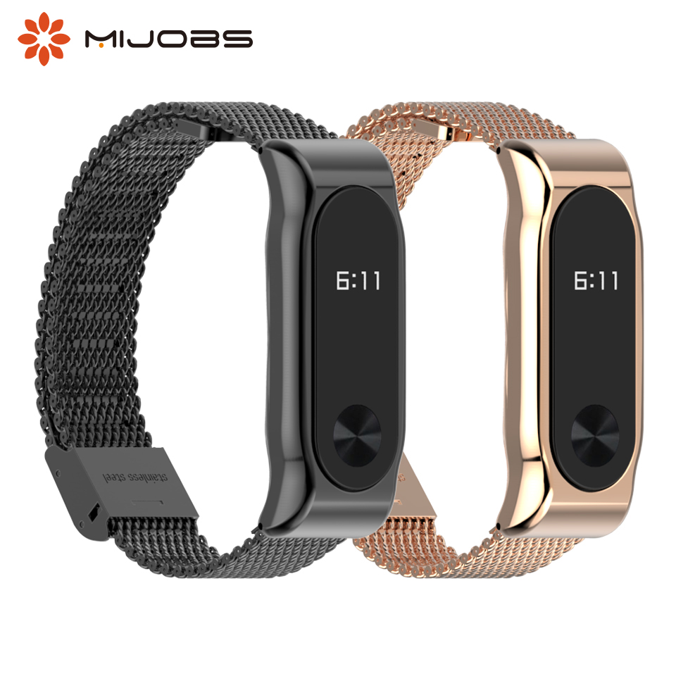 Mijobs Mi Band 2 Metal Wrist Strap Stainless Steel Bracelet For Xiaomi Mi Band 2 Smart Accessories Watch Miband 2 Band Wristband