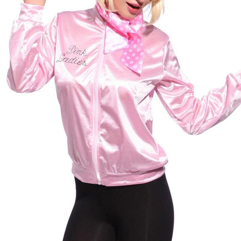 New Women Basic Coats Pink Tracksuit for Women Jacket Ladies Retro Jacket Women Fancy Dress Grease Costume chaqueta mujer W2