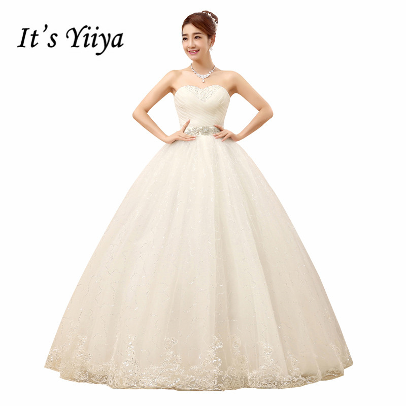 Free shipping YiiYa 2016 cheap handmade bridal wedding gowns white frocks princess wedding dress Sexy Vestidos De Novia XXN088