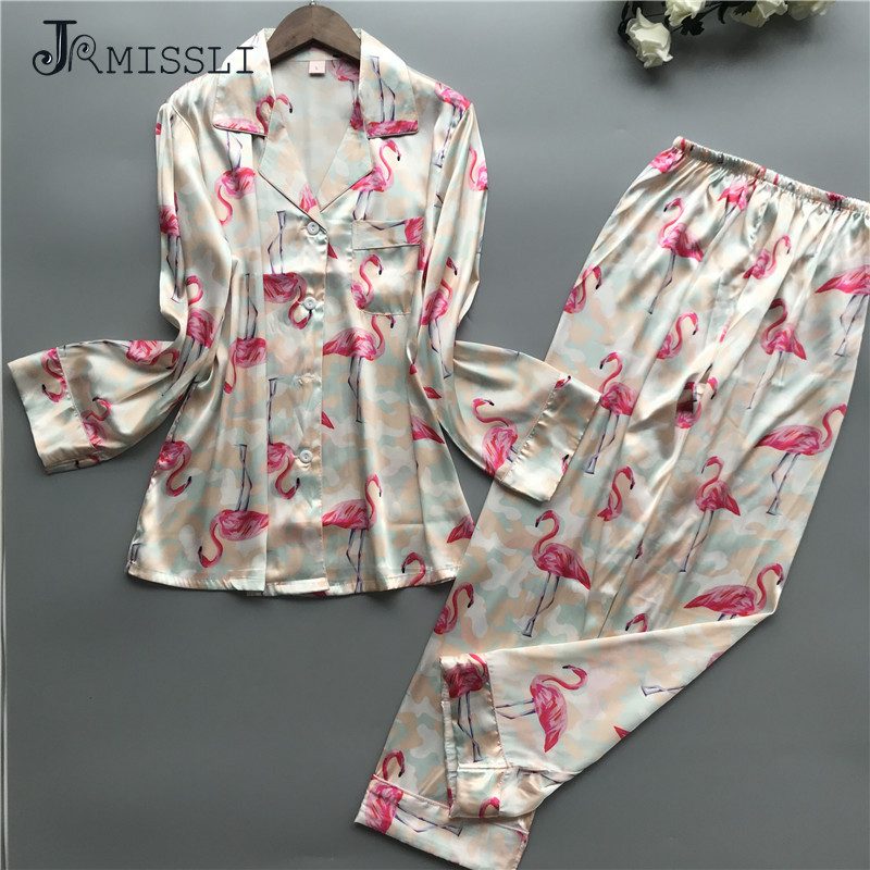 JRMISSLI Women   Pajama     Sets   Print Pyjamas Women Satin Flamingo Sleepwear 2019 Spring Elegant Silk Home Wear Fashion Pijama Mujer