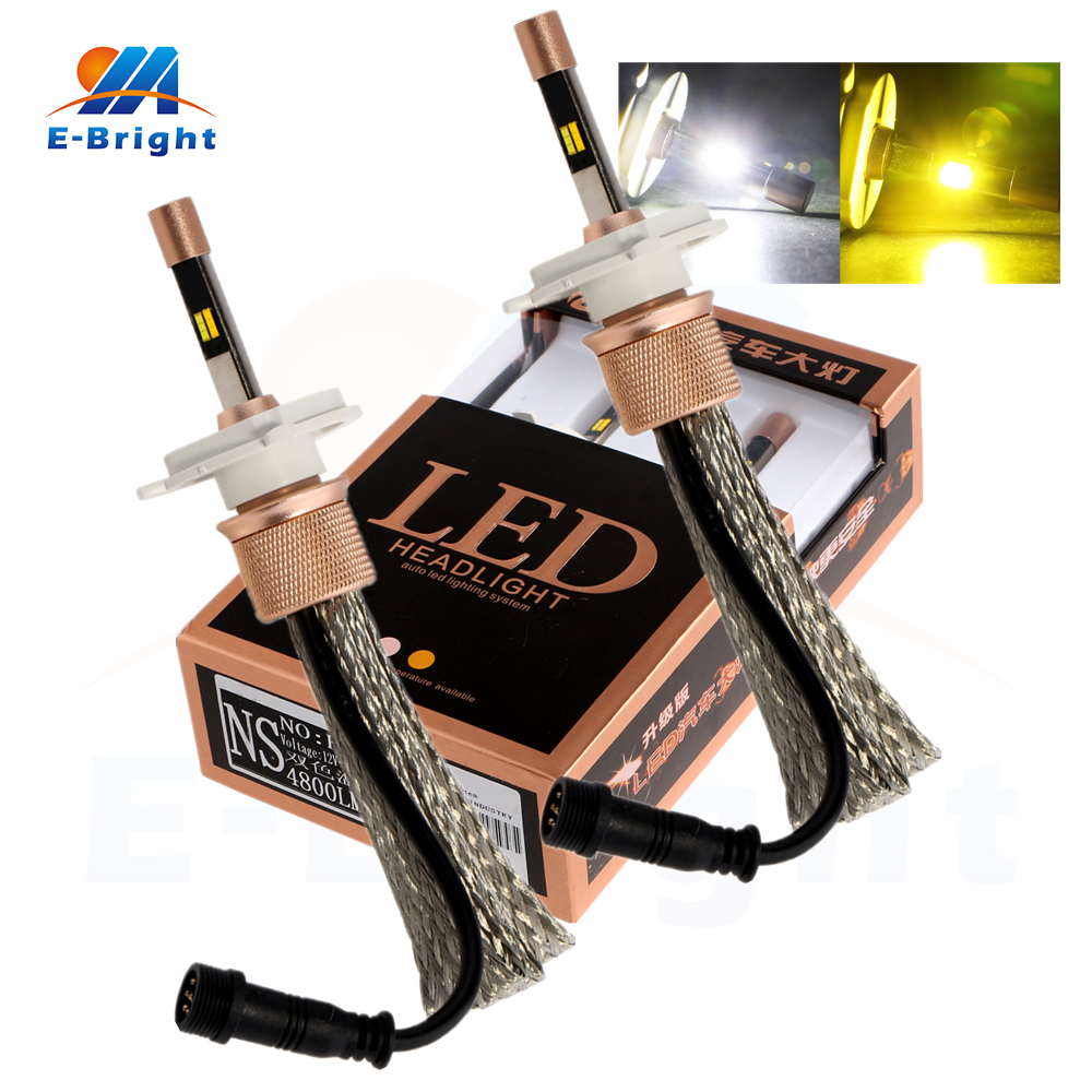 1 Pair 40W White and Yellow  9005 9006 H4 H7 H11 H8 Bulbs Auto Led Lighting System Led Headlight 5500LM 12V 24V Free Shipping