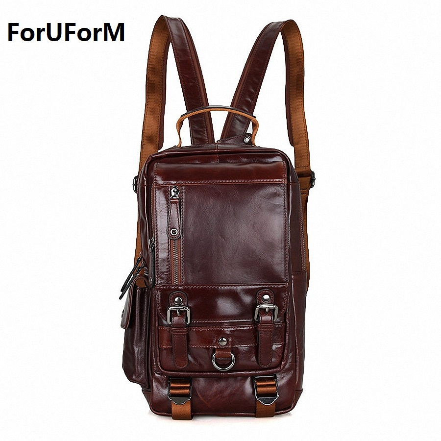 Hot  New design fashion genuine leather bag chest pack men messenger bag vintage shoulder bags back pack bolsa masculina LI-1648 new 2016 genuine leather crocodile alligator pattern men vintage messenger bag waist pack men s bags chest pack waist bag 3864