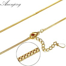 Anenjery 925 Sterling Silver Necklace 40cm+4cm Yellow Gold Color Box Chain Necklace For Women collares S-N179(China)