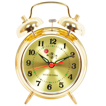 Alarm clock playing bells wind mechanical copper core Retro Old metal loudly pointer single-sided simple modern sleeping