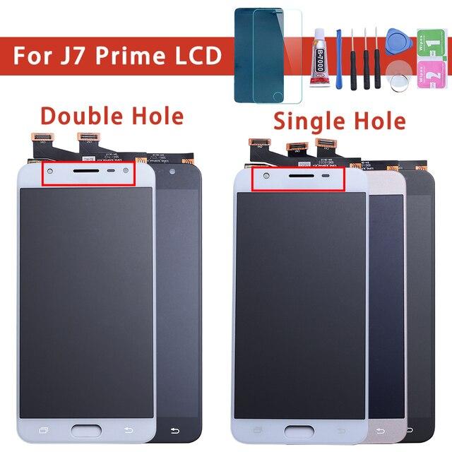 LCD Digitizer เต็มรูปแบบสำหรับ Samsung Galaxy J7 Prime G610 G610F On7 2016 G6100 จอแสดงผลจอสัมผัสคู่