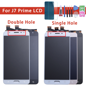 Image 1 - LCD Vervanging volledige Digitizer Voor Samsung Galaxy J7 Prime G610 G610F On7 2016 G6100 Display Touch Screen Montage Dubbele Gaten