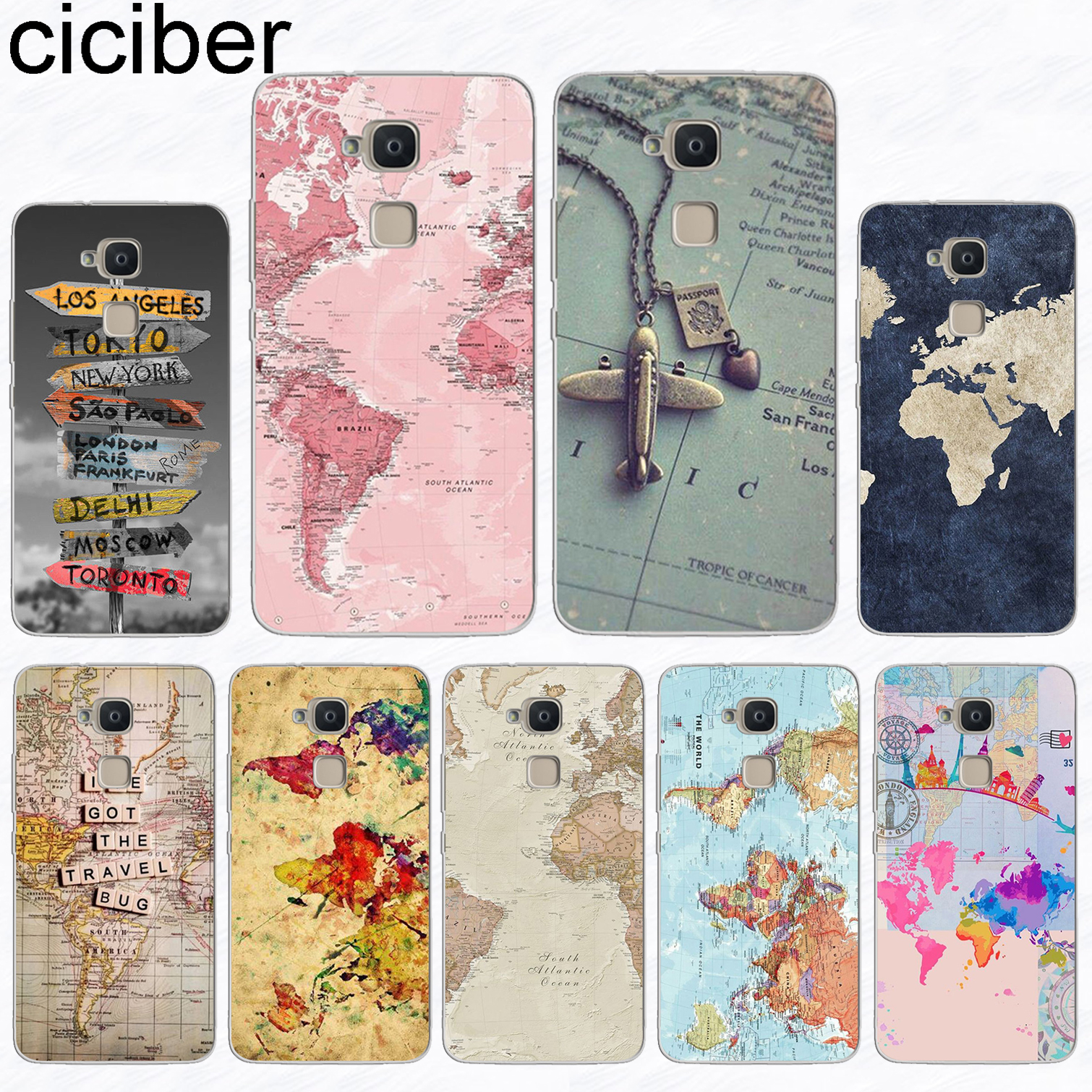 ciciber For BQ Aquaris U2 C U X5 V VS X2 X Plus Lite Pro E5 s M5 M5.5 E4.5 M4.5 Soft TPU Phone Cases World Map Travel Plans Capa