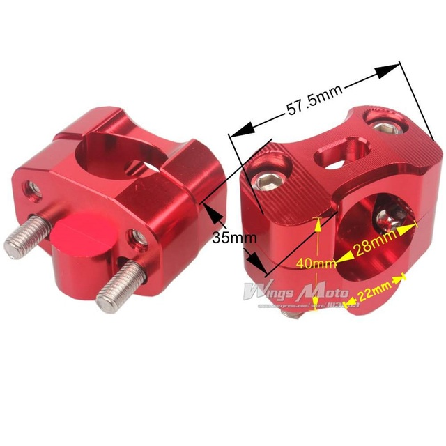 Motorcycle Bar Clamps Handlebar Bar Risers For 28MM 1-1/8 Fat Bar Pit Dirt Bikes RED