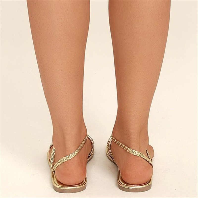 Wetkiss tecer sandálias mulher plana sandálias de verão mulher sapatos de tiras feminino sapatos casuais menina senhoras ouro 2019 mais tamanho 34-48