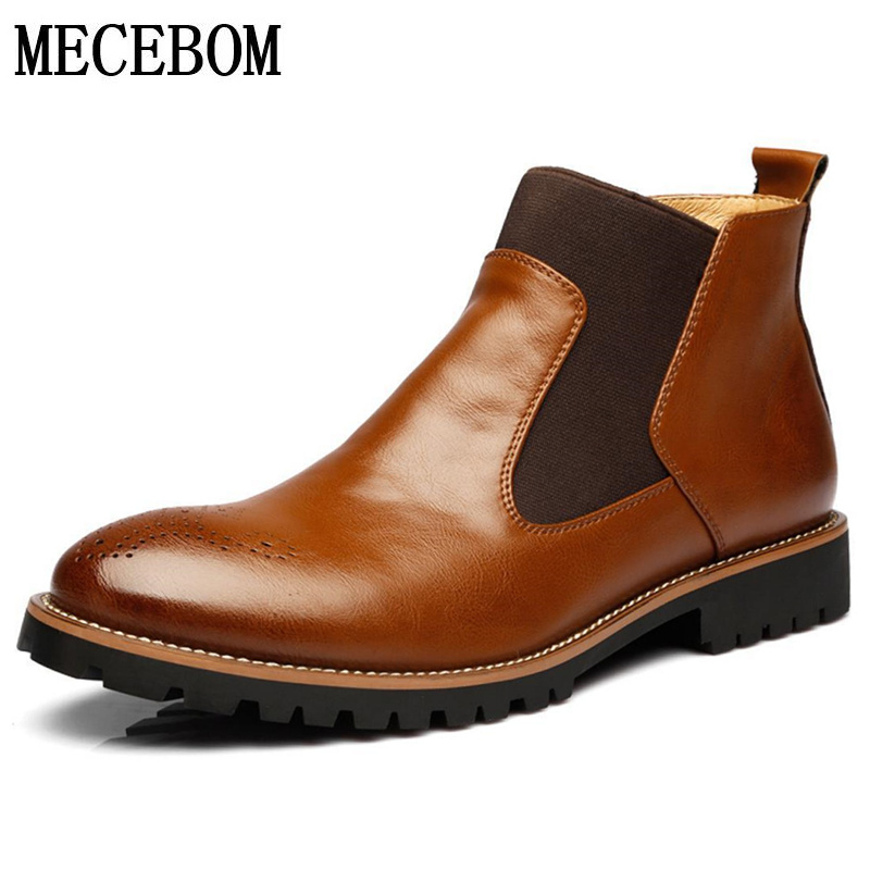Men's Chelsea Boots Autumn Winter Plush Warm Black Ankle Boots for Male Men Casual Business Leather shoes Botas size 38-46 338m men autumn winter genuine leather italian black luxury fashion casual plush ankle boots mens shoes male for wedding business 09