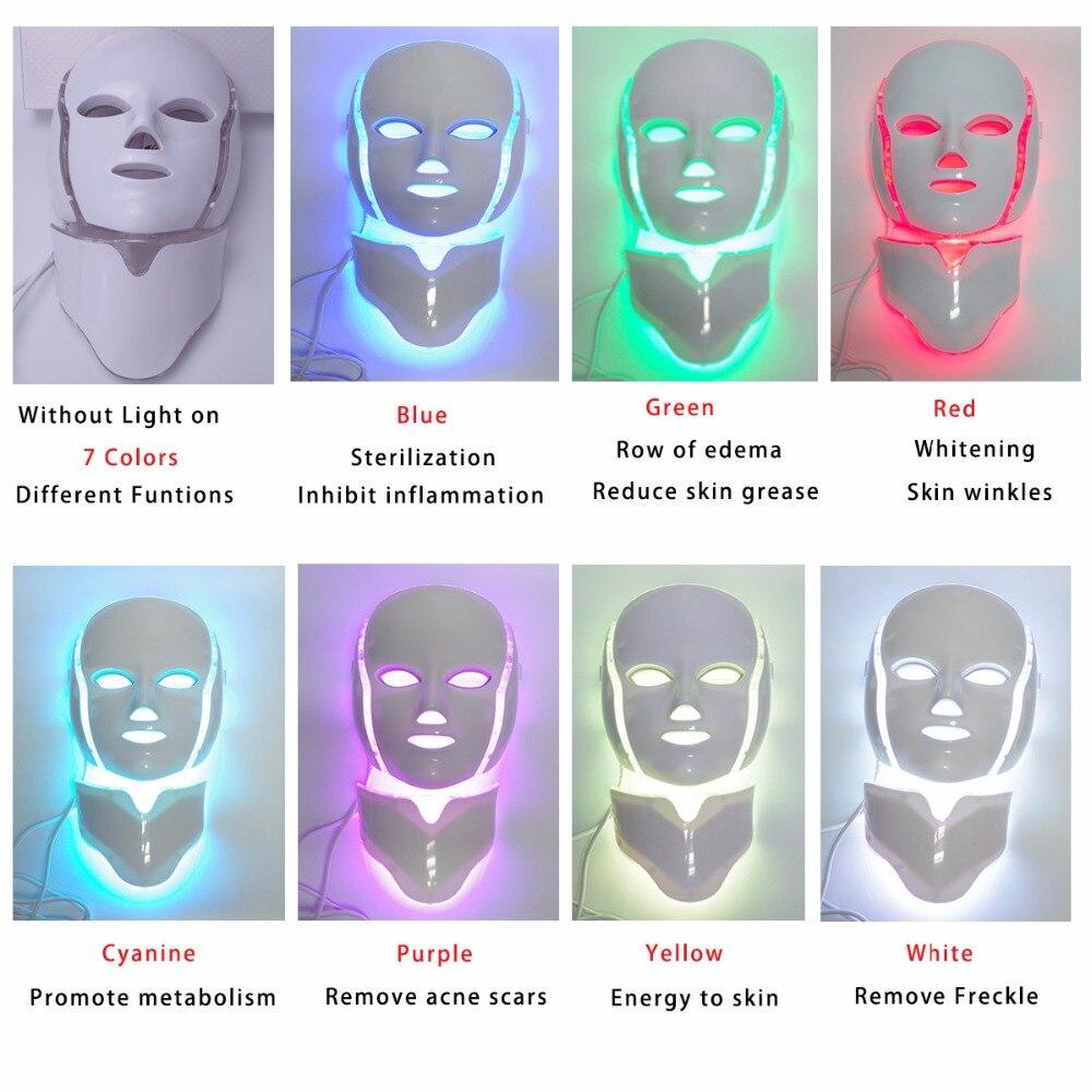 Más de 3/7 colores de fotones eléctrica LED máscara Facial con cuello de rejuvenecimiento de la piel Anti acné arrugas, tratamiento de belleza salón de uso en el hogar