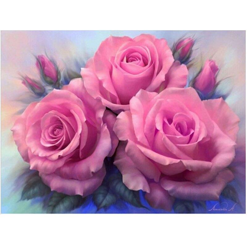 5D Diamant broderie fleur Pivoine diamant rond mosaïque point de croix unfinished décoratif diamant peinture rose floral