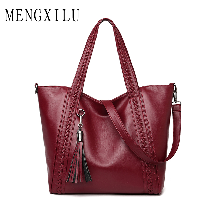 MENGXILU Bolsa Feminina PU Leather Women Bags Designer Handbags High Quality 2017 Ladies Bags Tassel Shoulder Bag New Tote Sac women messenger bags designer handbags high quality 2017 new belt portable handbag retro wild shoulder diagonal package bolsa