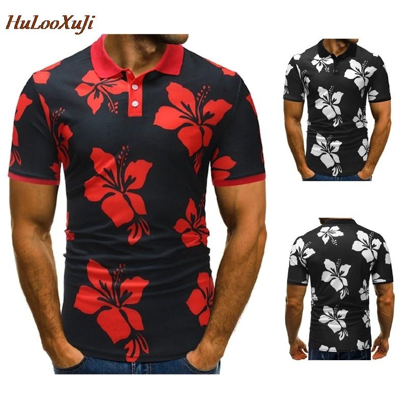 HuLooXuJi High-quality Men   Polo   Shirts Casual Brand Summer Cotton Short Sleeve Floral Printed   Polo   shirts US Size:M-3XL