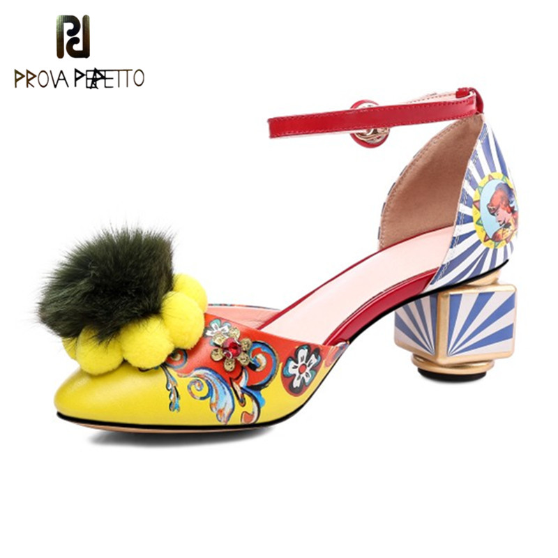 Prova Perfetto New Designer Nobility Shoes Woman Real Fur High Heels Ladies Shoes Graffiti Flower Strange