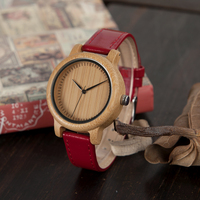 BOBO BIRD 3 Color Pu Leather Band Women Watches Bamboo Wood Watches Luxury Ladies Quartz Watch