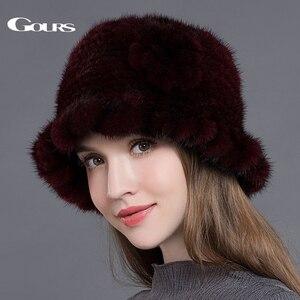 Image 4 - Gours Pelz Hüte für Frauen Gestrickte Natürliche Nerz Fedoras Dicke Warme In Winter Beanies Caps Fashion mit Floral Neue ankunft