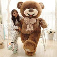 Чучело огромного 180 см улыбка мишка игрушка с бабочкой, коричневый медвежьи кукла подушка подарок 0421