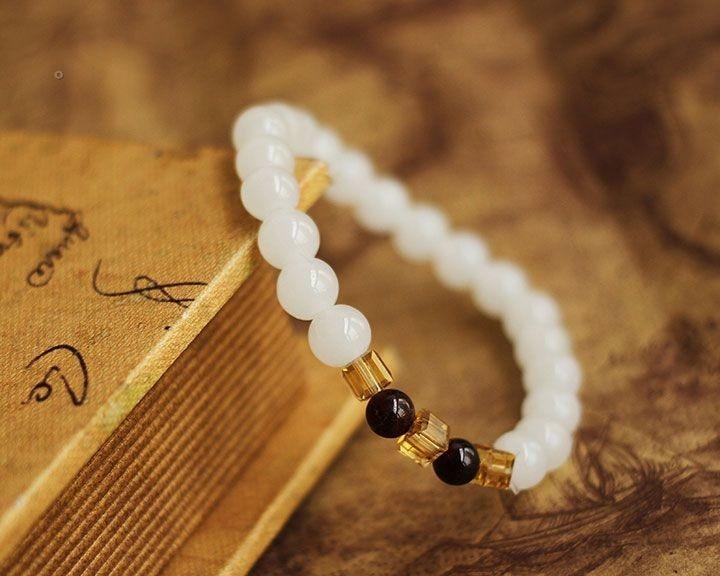 Natural White Chalcedony Bracelet 4