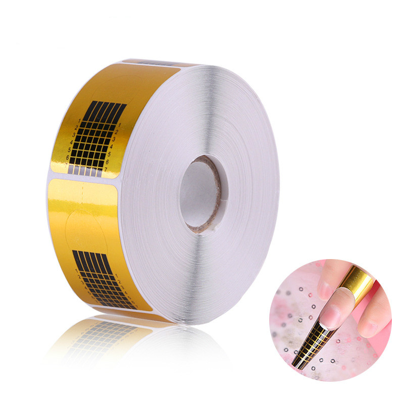 500 Pcs/roll Gold Nail Guide Sticker Tape Nail Art Sculpting Extension Nails Forms Guide Stickers Adhesive Acrylic UV Gel Tips