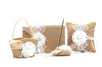 Set of 4 pcs Burlap Hessian Lace Flower Vintage Rustic Wedding Guest Book Pen Holder Ring Pillow Flower Girl Basket