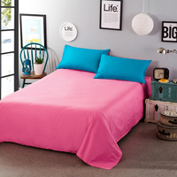 Promotion high quality cotton for adults child solid color sheets twin full queen king flat bed sheet bedcover for bedroom