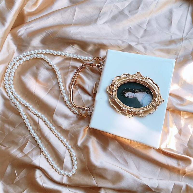 Vintage Style Women Handbag Oil painting chain should bag for ladies Day Clutch Bag Small pearl chain Shoulder Messenger BagsVintage Style Women Handbag Oil painting chain should bag for ladies Day Clutch Bag Small pearl chain Shoulder Messenger Bags
