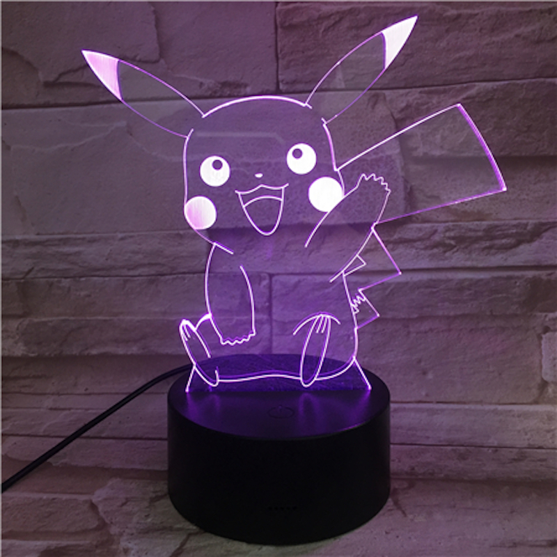 Pokemon Go Pikachu Figure Kids Nightlight LED Bedside Atmosphere Colorful Night Light Child Holiday Gift 3D Lamp RGB Pikachu in LED Night Lights from Lights Lighting