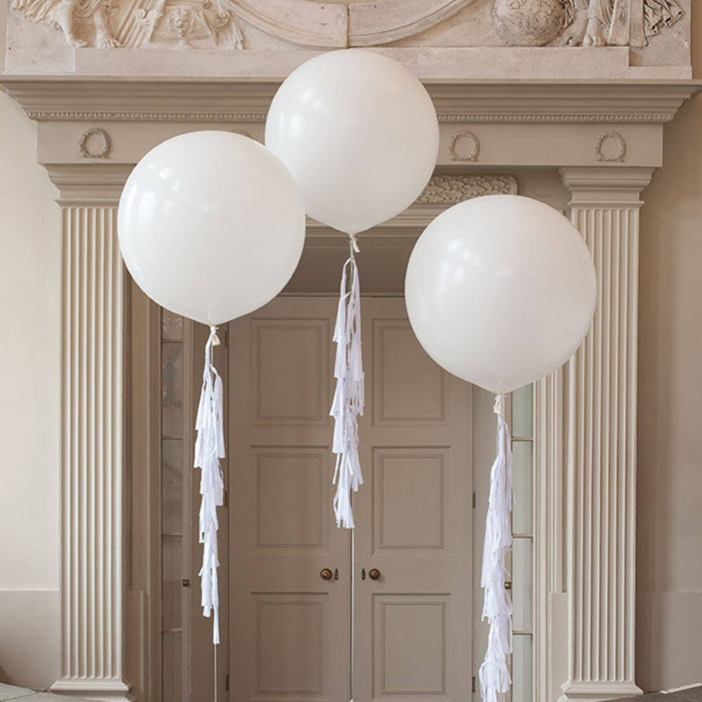 36 quot 3pcs White Round Balloons Set 3 pcs 25g Latex Giant Balloon with 15 pcs white paper tassels Birthday Wedding Party Decorate in Ballons amp Accessories from Home amp Garden