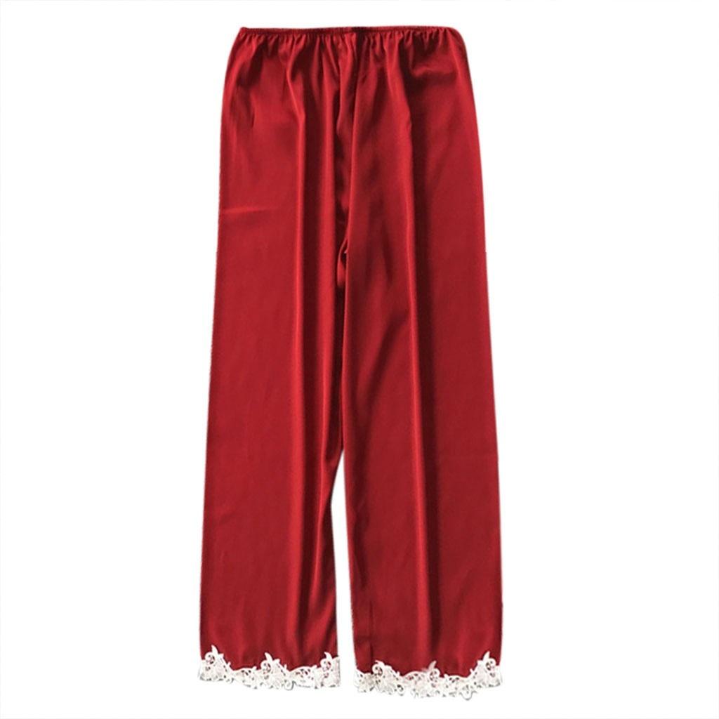Casual loose women satin silk pijama bottoms summer sleepwear soft pajama sexy nightwear pyjama three color