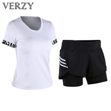 2017 New Track Suit Women Yoga Set Tights Gym Elastic Fitness Comfortable Sport T-Shirt+Shorts Two Pieces Black+White Sportswear