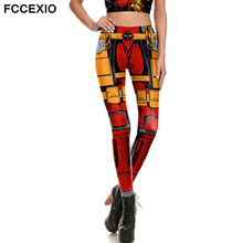 FCCEXIO Captain America Iron Man Metal Armour Legins Robot Mechanical Print Women Leggings Superhero Cool Stretch Fitness Pants