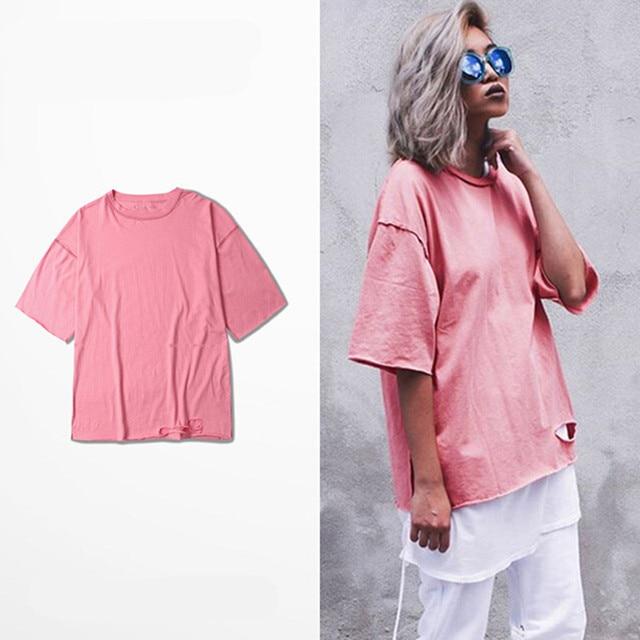 ff3db89d2f Men short sleeve hip hop t shirt broken hole punk tees tops women summer  pink oversized tshirt street wear hiphop clothes