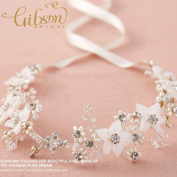 Free Shipping Korean Style Flower Style Sweet Princess Fashion Headdress Hair Vine With Ribbons Accessories fashion style