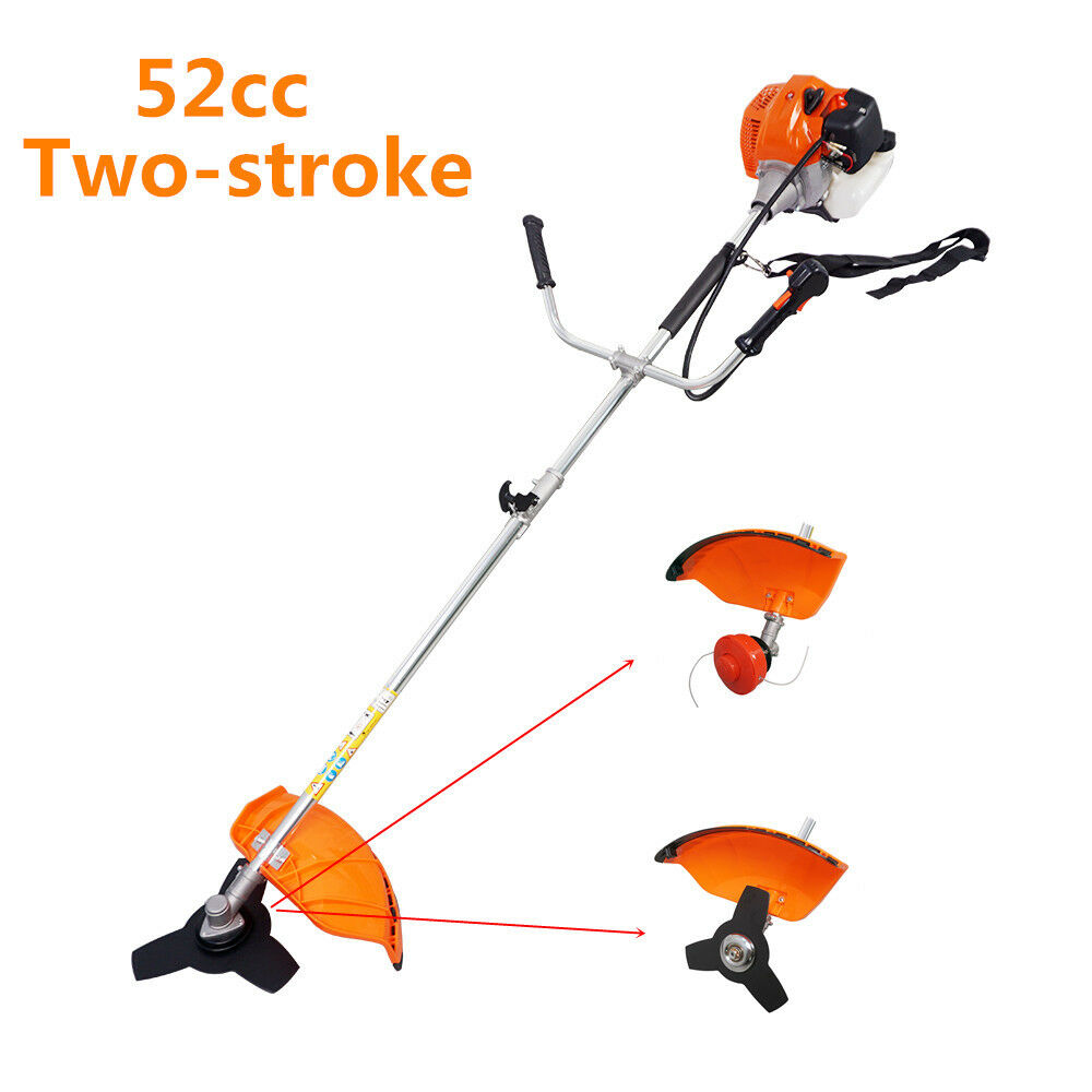 2 Stroke 2 in 1 52cc Straight Shaft Grass Trimmer Brush Cutter Garden Lawn Cutting Tools