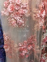Tulle Lace Fabric 3D flower High Quality Beaded Lace Fabric Beautiful Applique Nigerian Lace Fabric JRB 3416 For Wedding